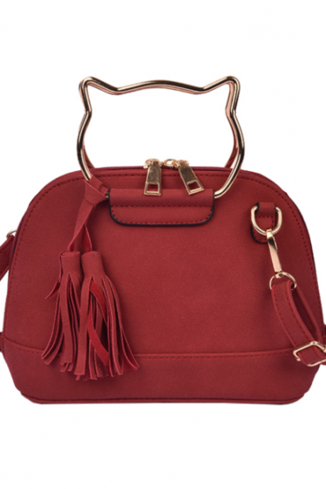 Suede Leather Crossbody Tassel Bag with Metal Cat Handle