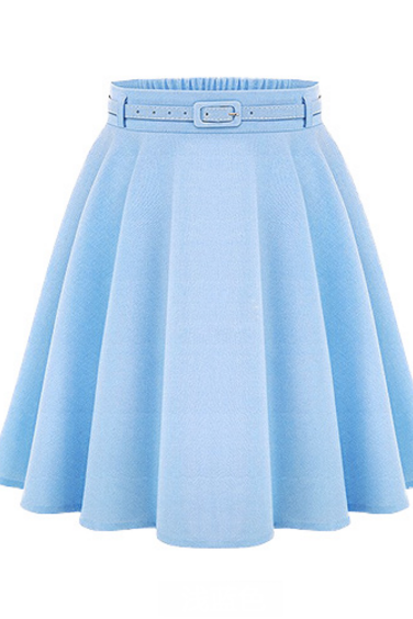 Fashion Women Solid High Waist Pleated Skirt Summer Trendy Candy Color Skirt