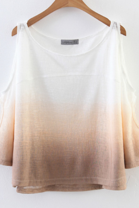 Ombre Cold-shoulder Scoop-neck Blouse