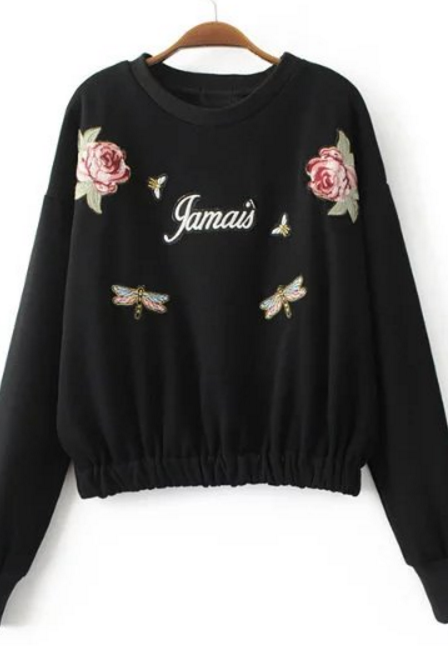 New Fashion Rose Flower Patch Long Sleeve Sweater Round Neck Pullover Fashion Woman Top