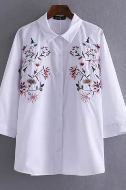 White Button Down Shirt with Quarter Flare Sleeves and Floral Embroidered Detailing