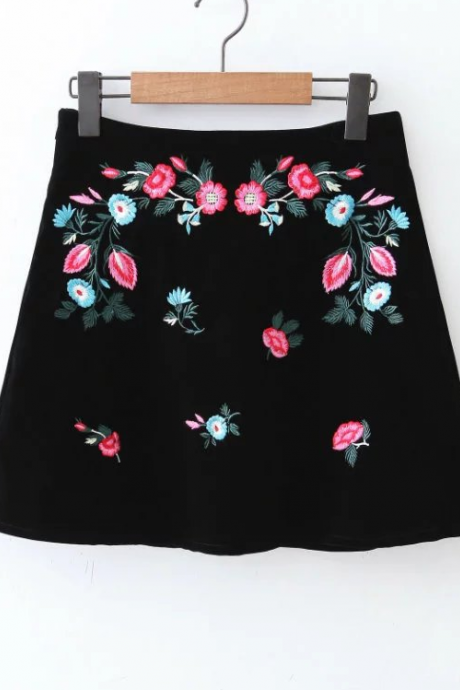 Black Velvet High Waist A-Line Skirt Featuring Floral Embroidery