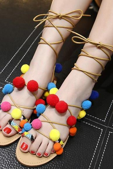 New Women's Rainbow Fur Ball Lace Up BOHO Sandals Beach Wear Bohemian Sandals