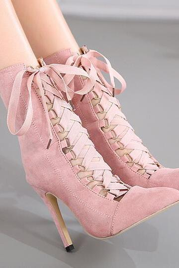 New Sexy Fashion Women's Pink Black Lace Up Pumps Pointed Toe Bandage High Heel Suede Leather Booties