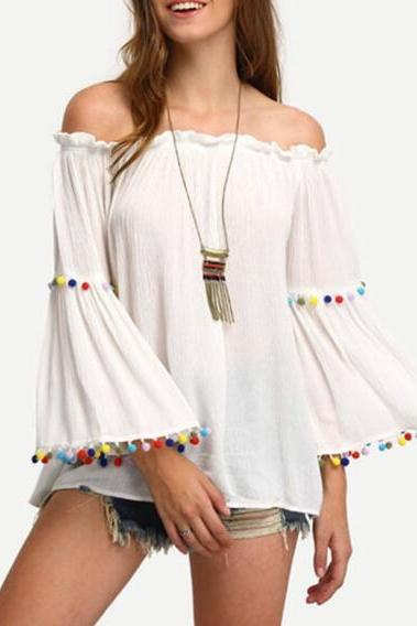 White Off-The-Shoulder Bell Sleeved Blouse Featuring Colourful Pom-Poms and Ruffled Detailing