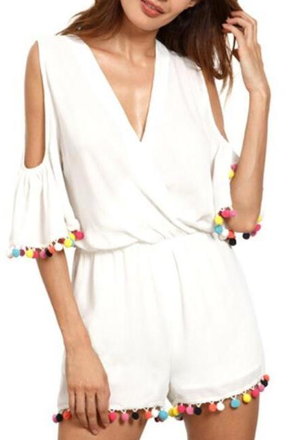 White Plunge V Cold Shoulder Romper Featuring Colourful Pom-Poms Trimmed