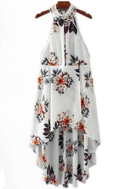 Floral Print High Neck Halter High Low Maxi Dress Featuring Cutout Front, and Open Back