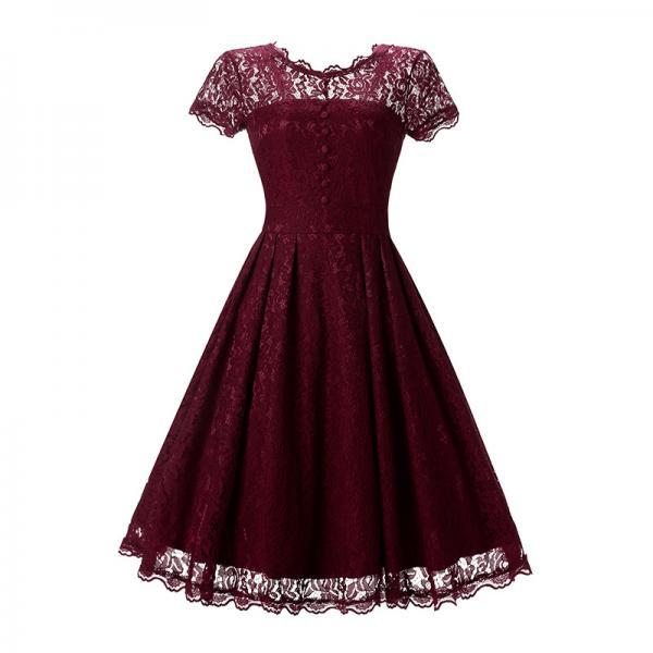 Vintage Burgundy Lace Sleeveless Party Dress Vintage Hepburn Stlye Fit And Flare