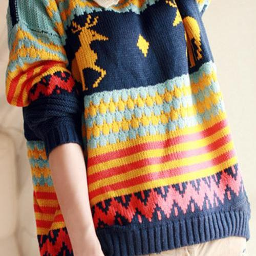 FREE SHIPPING Cute Deer Doll Collar Sweater