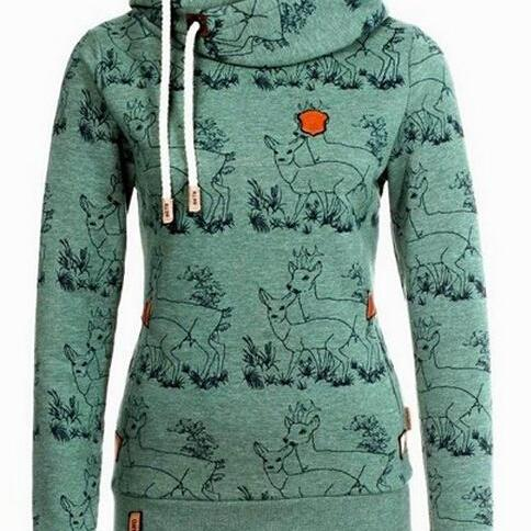 FREE SHIPPING Fall/Winter Long Sleeve Deer Print Hoodie Green Sweater Sweatshirt