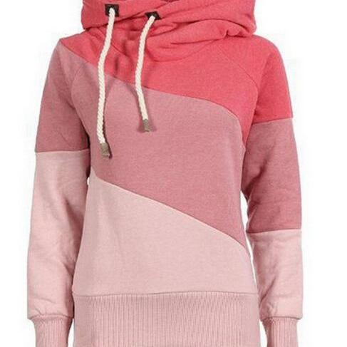 FREE SHIPPING Fall/Winter Long Sleeve Color Block Hoodie Sweater Sweatshirt