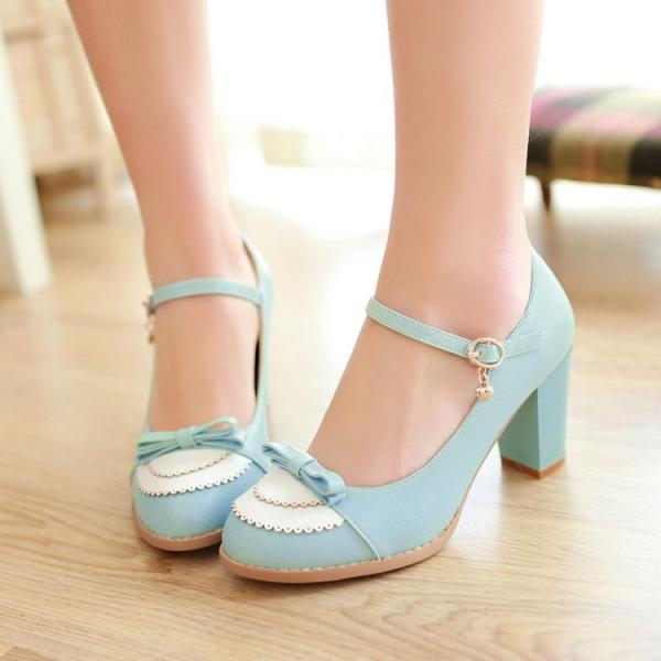 FREE SHIPPING Cute Pastel Blue Bow Heeled Shoes
