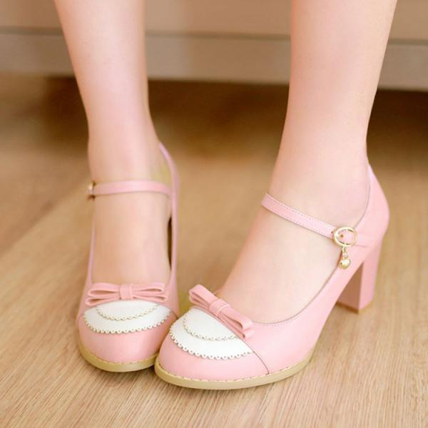 FREE SHIPPING Cute Pastel Pink Bow Heeled Shoes