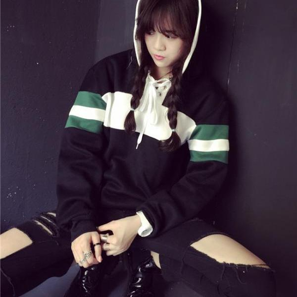 FREE SHIPPING Cute Color Block Harajuku Hooded Sweater