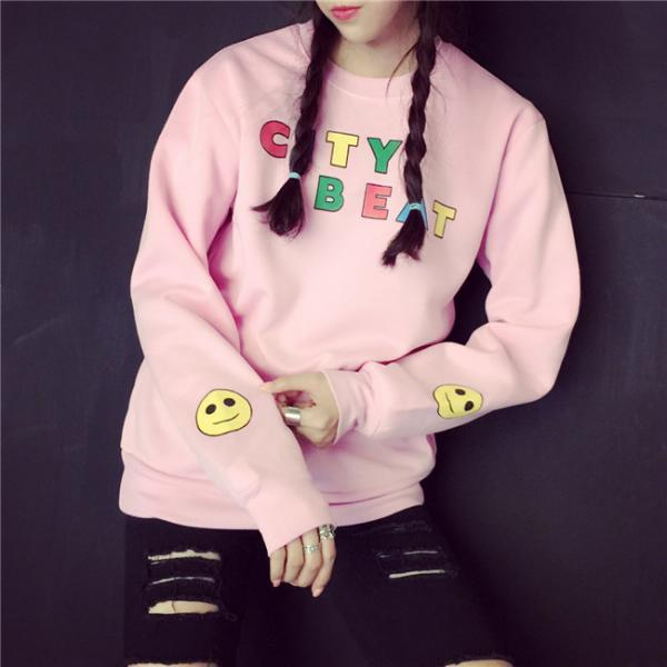 FREE SHIPPING Cute Crew Neck Printed Hooded Sweater