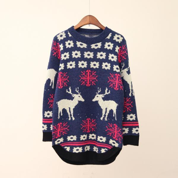 FREE SHIPPING Cute Deer Floral Crew Neck Sweater