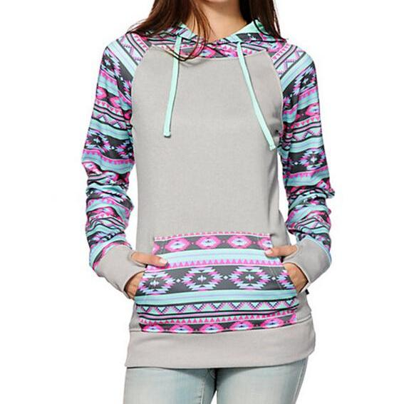 FREE SHIPPING Grey Long Sleeve Tribal Print Pocket Hoooded Sweater