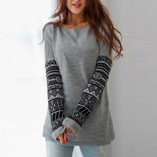 FREE SHIPPING Round Neck Tribal Prints Long Sleeve Sweatshirt