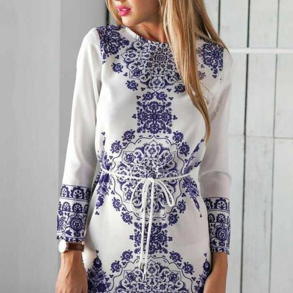 FREE SHIPPING Blue And White Porcelain Prints Long Sleeve Dress