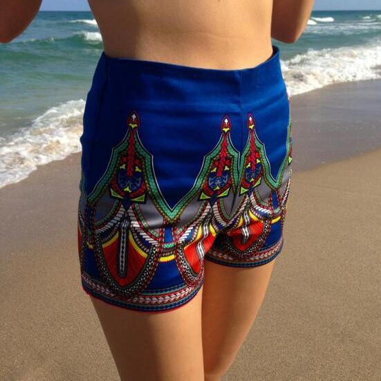 FREE SHIPPING 2016 New Tribal Print Shorts In Blue