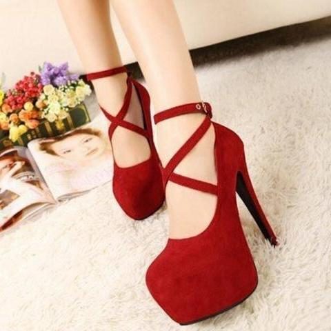 New Fashion Red Suede Cross Strap Pump Night Club High Heel