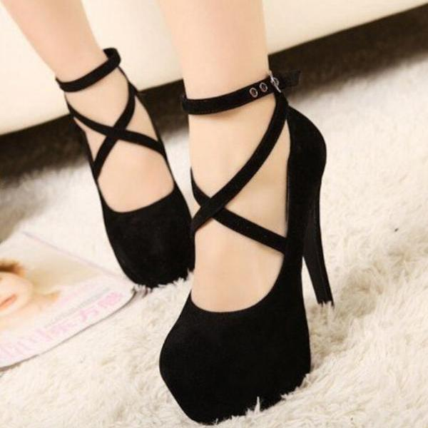 New Fashion Black Suede Cross Strap Pump Night Club High Heel
