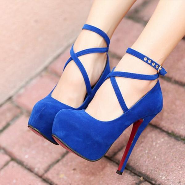 New Fashion Blue Suede Cross Strap Pump Night Club High Heel