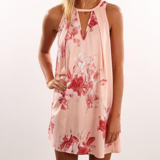 Pink Floral Printed Sleeveless Keyhole Neckline Shift Dress