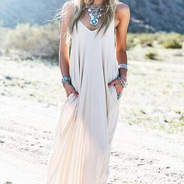 FAST SHIPPING 2016 New Fashion Women's Cream See through Maxi Dress With Pockets Beach wear Dress