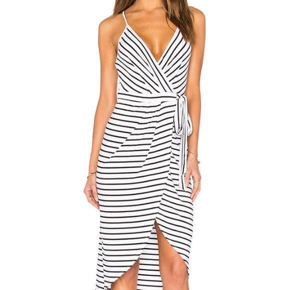 FREE SHIPPING 2016 New Fashion Women's Black White Deep V-Neck Stripe Cami Dress