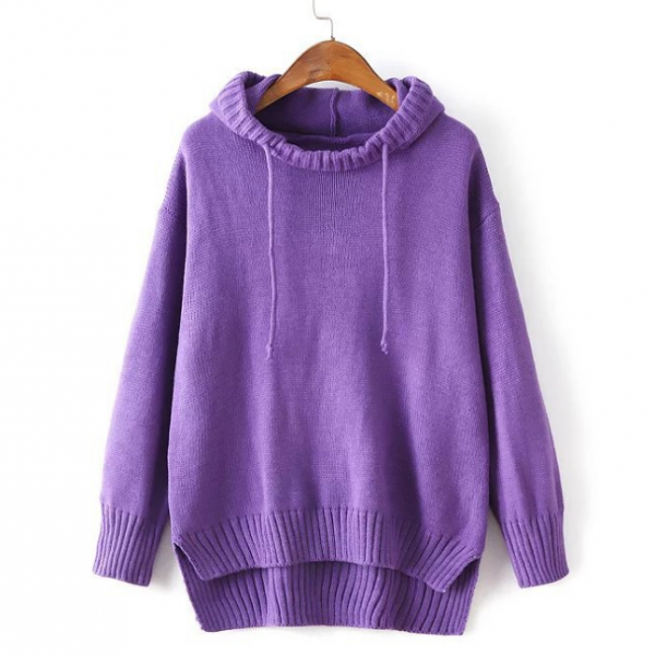 FREE SHIPPING New Fall Winter Fashion Women's Long Sleeve Knitted Hoodie Sweater Pullover Hoodie Jacket Coat Hooded Jumper Tops
