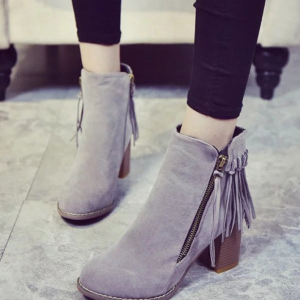 Suede Ankle Boots with Chunky Heels and Tassels
