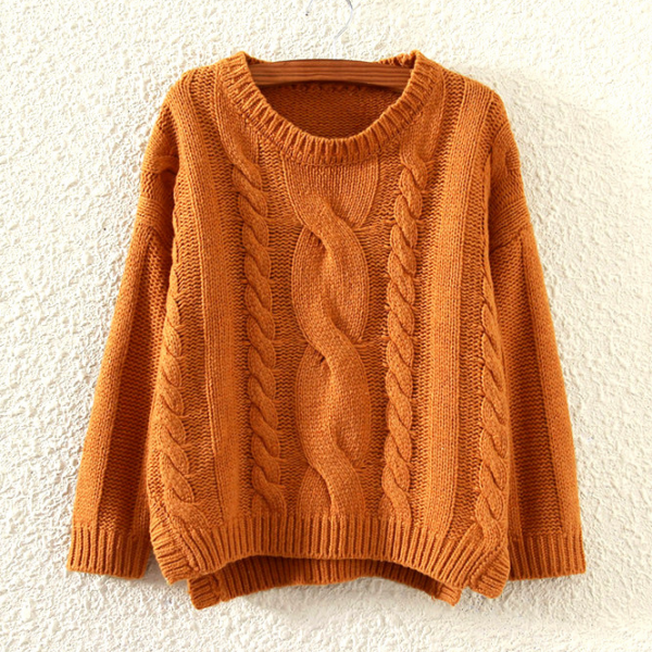 Fall Winter Women Fashion Loose Hem Split Cable Knit Sweater