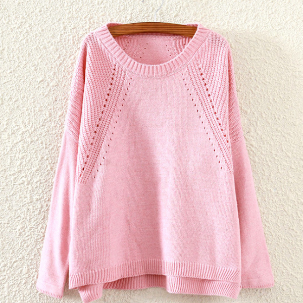Women Long Sleeve Loose Knitted Sweater