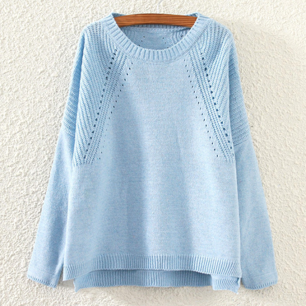 Fall Winter Women Fashion Blue/Pink Loose Hem Split Hollow Knit Sweater