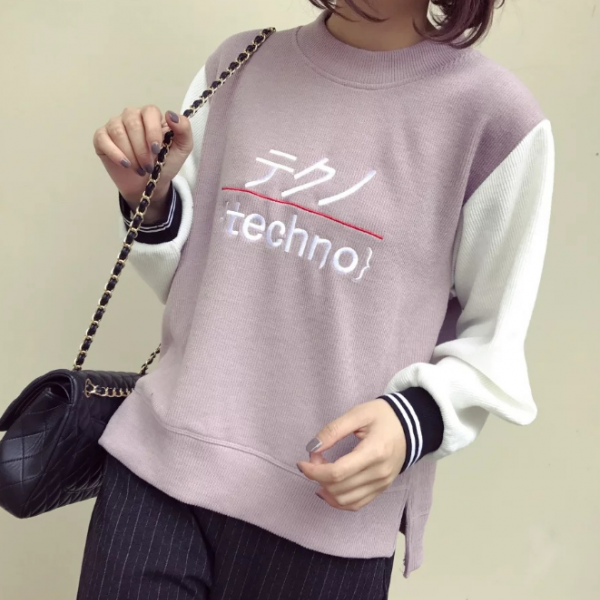 Fall Winter Harajuku Fashion O-neck Corduroy Sweater Women Top Jumper