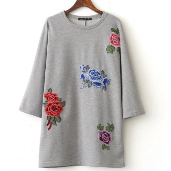 Floral Embroidered Long-sleeved Shift Dress