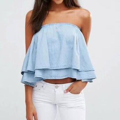 Light Wash Denim Ruffle Off-The-Shoulder Top