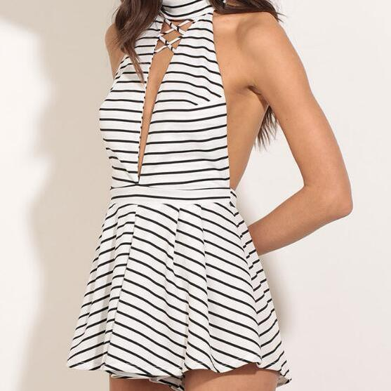 Black and White Striped High Neck Halter Romper Featuring Cutout Front, Lace-Up Detailing and Open Back